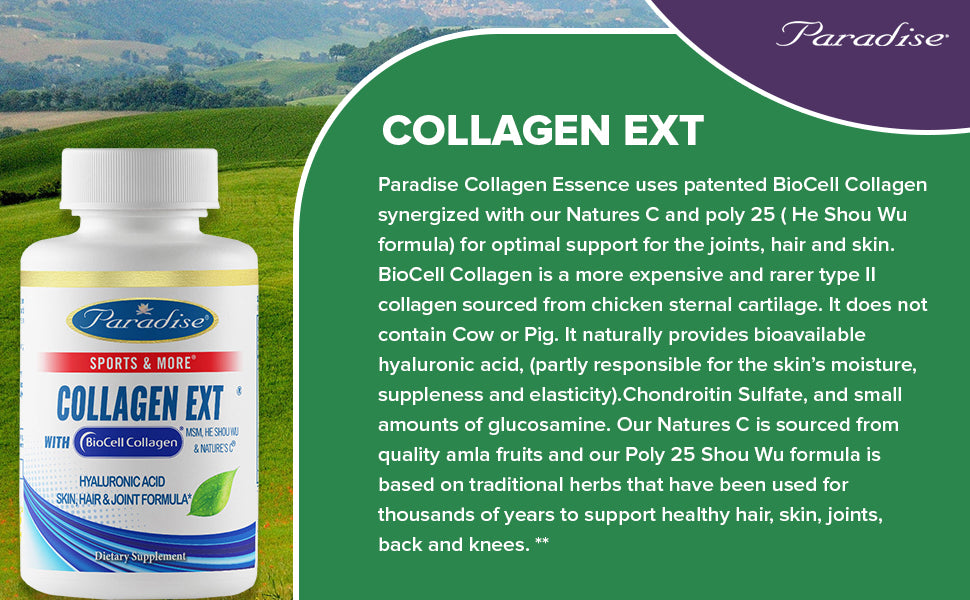 Paradise Herbs, Collagen Extreme with BioCell Collagen & Hyaluronic Acid, helps Skin Hair Join, 60-120 Capsules