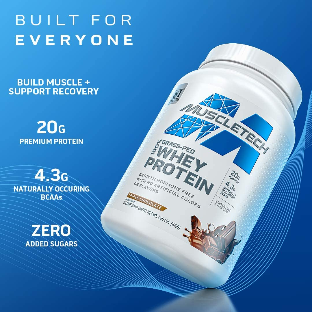 MuscleTech Grass Fed Whey Protein Powder   Protein Powder for Muscle Gain