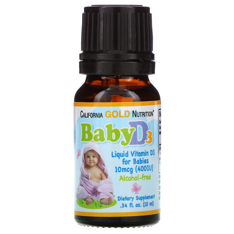 California Gold Nutrition | Baby Vitamin D3 Drops for infants | 400IU 10ml