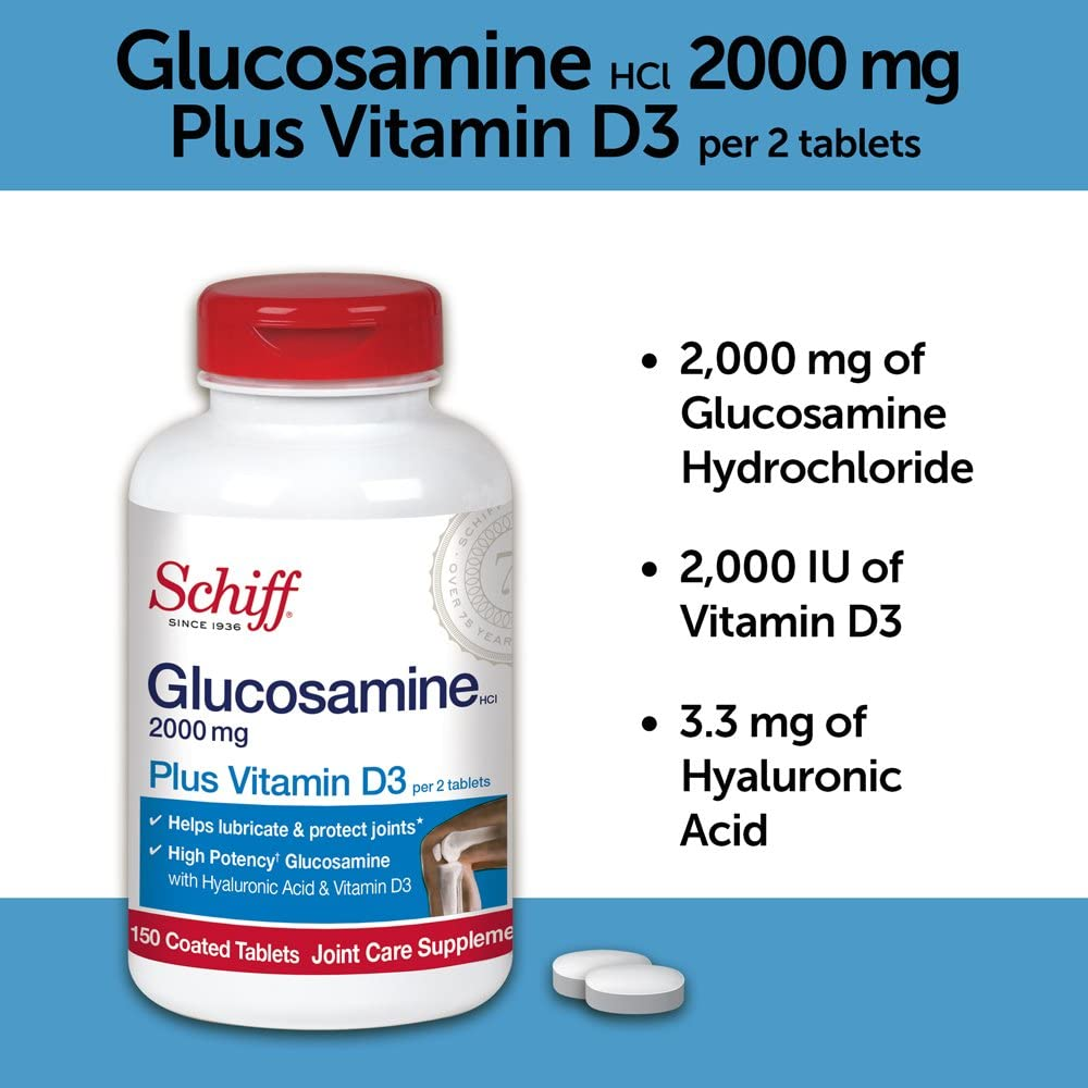 Schiff, Glucosamine, Plus Vitamin D3, Bone & Joint Support, Joint Care Supplement, 2000mg, 150 Coated Tablets
