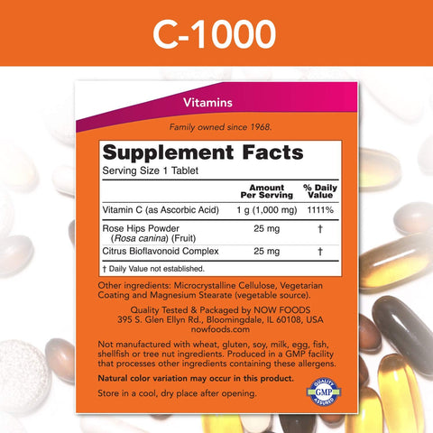 NOW Foods, Vitamin C 1000 with Rose Hips | Bioflavonoids, Sustained Release, Boost Immunity, Antioxidant