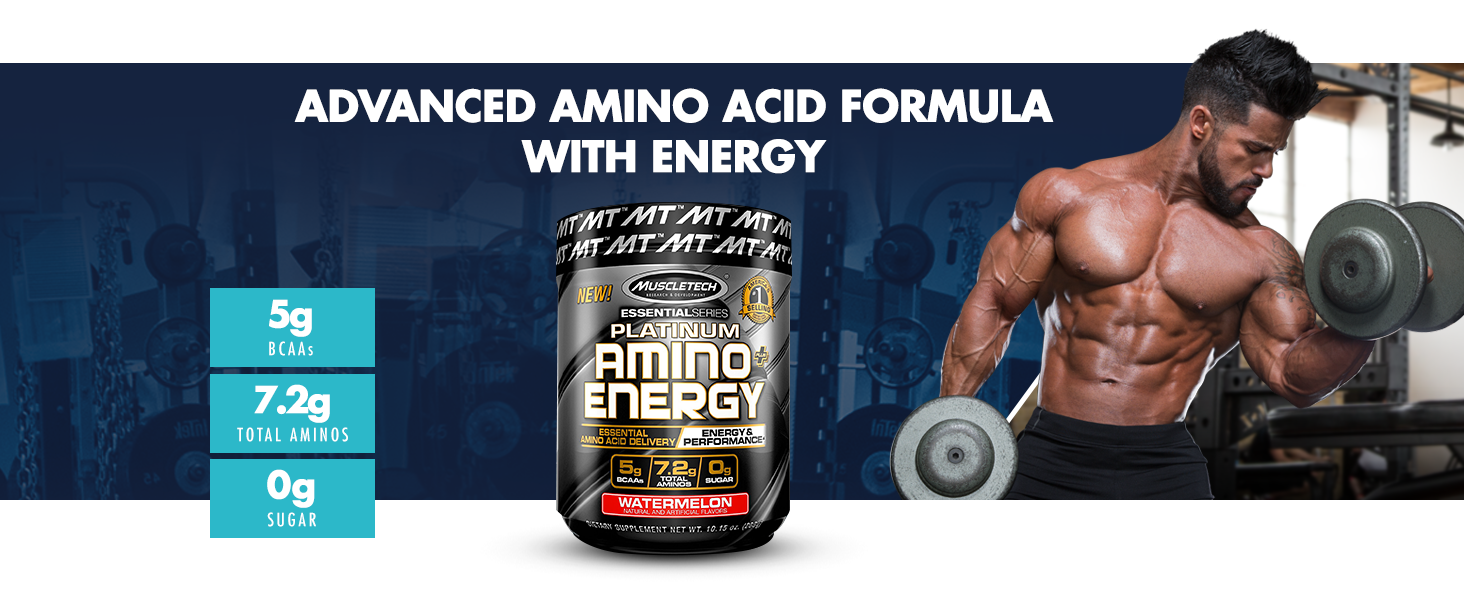 Muscletech, Platinum Amino Plus Energy, Enhance Energy, Boost Intensity, Workout Support, 30 Serving