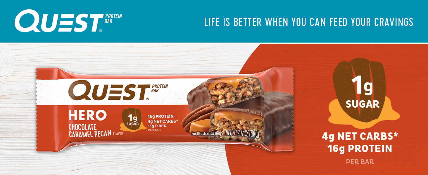 Quest Nutrition Hero Protein bar | Build Muscle | Low Carb | Gluten Free | 10bars