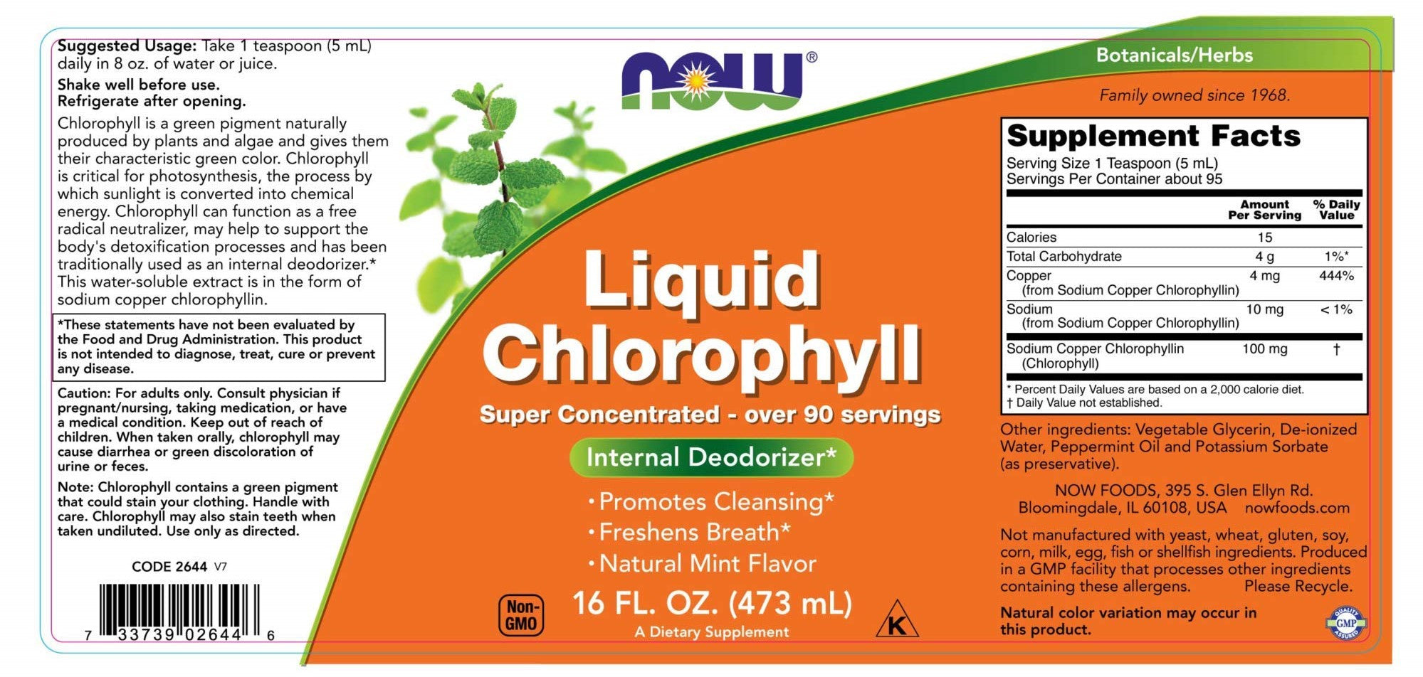 Now Foods Liquid Chlorophyll | Promotes Cleansing | Freshens Breath | Non-GMO | Mint Flavor 473ml