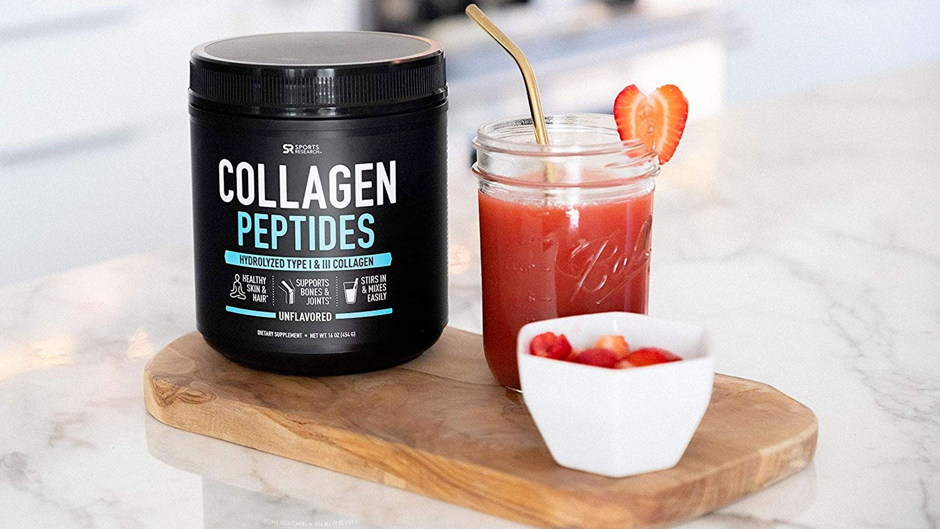 Sports Research, Collagen Peptides Powder | Certified Paleo Friendly and Gluten Free | Unflavored 454g