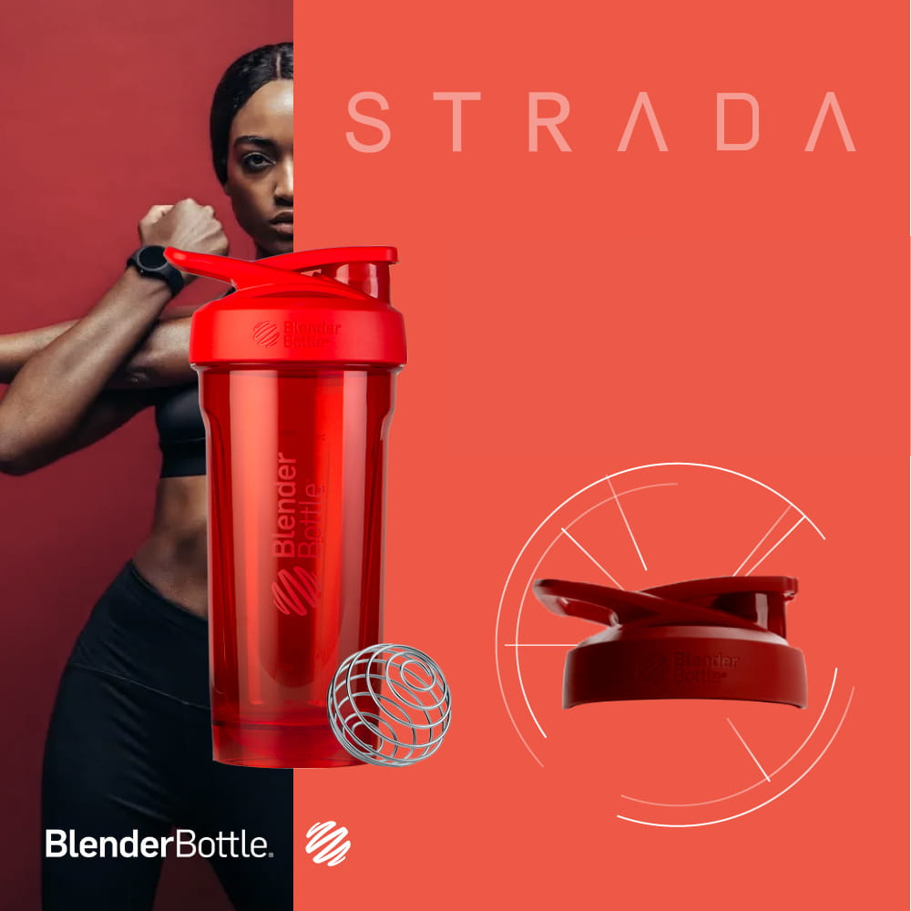 Blender Bottle STRADA Tritan Rounded Base with Lock Lid Anti Odor Protein Shaker, 28 oz