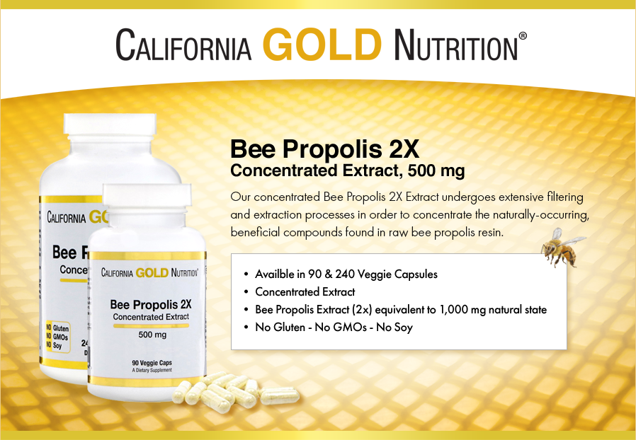 California Gold Nutrition, Bee Propolis 2X, Concentrated Extract, 500 mg, Support Immune Health & Vitality, No Soy, Gluten Free