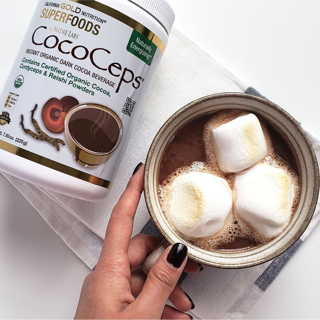 California Gold Nutrition SUPERFOODS - CocoCeps | Organic Cocoa | Cordyceps & Reishi 225g
