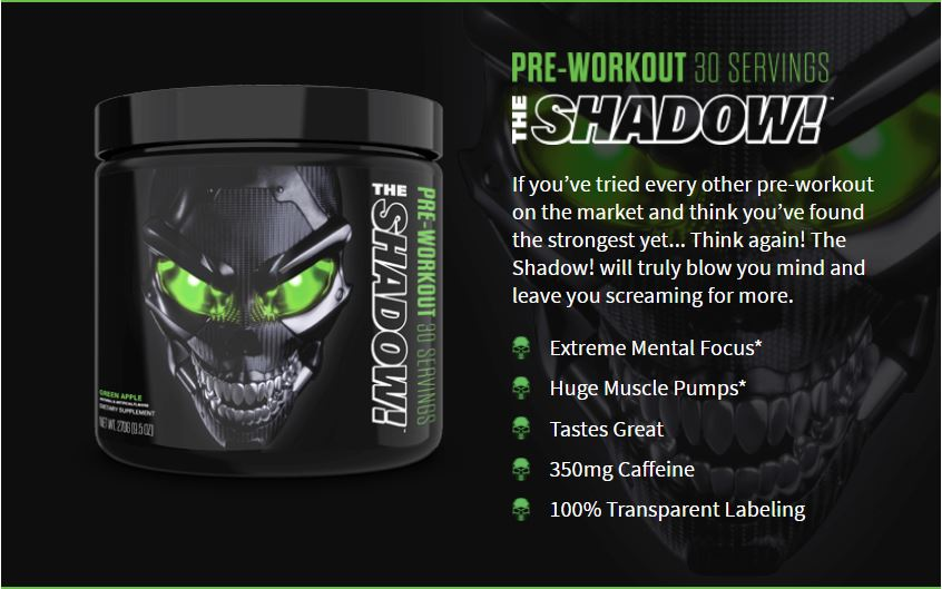 JNX Sports, The Shadow, Pre Workout | Mental Focus | Intense Muscle Pump | Ultimate Pre-workout