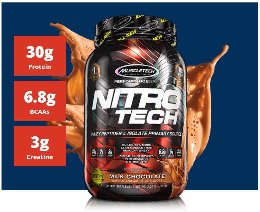 Muscletech, NitroTech, Whey Protein Peptides & Isolate Primary Source, 4lbs