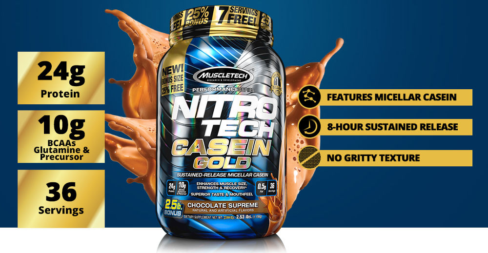 MuscleTech NitroTech Casein Gold, Sustained Release Micellar Casein build Muscle & Recovery, 5lbs