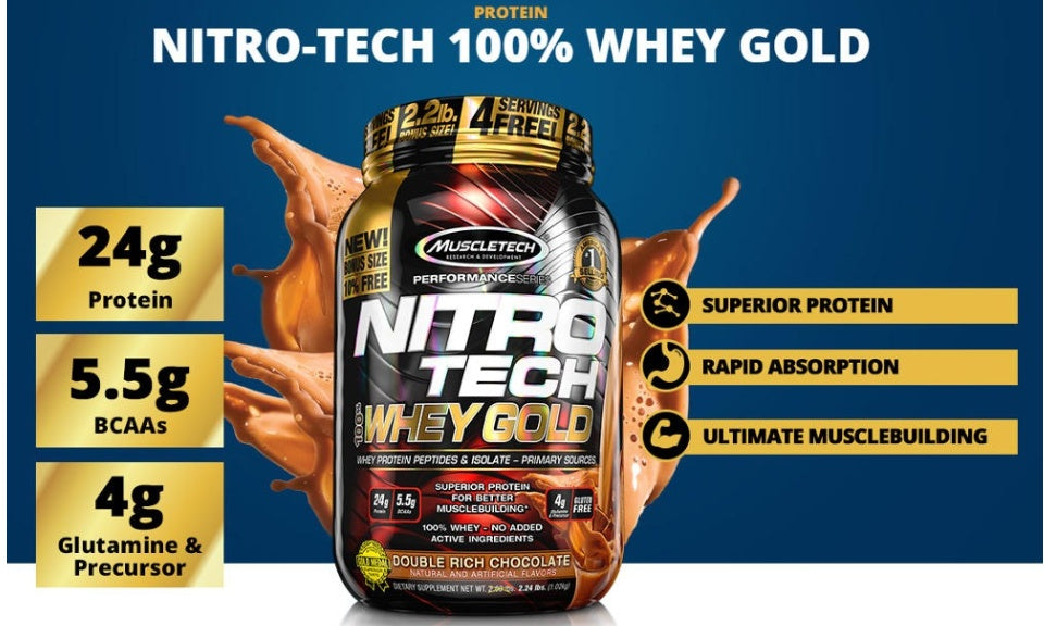 MuscleTech Nitrotech Whey Gold, 100% Whey Protein Powder, Whey Isolate and Whey Peptides, Various flavors