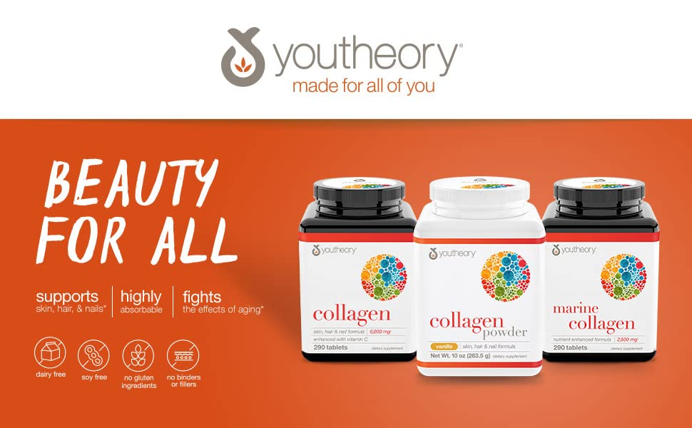 Youtheory Collagen | Collagen Advanced with Vitamin C | 6,000 mg | 290 Tablets