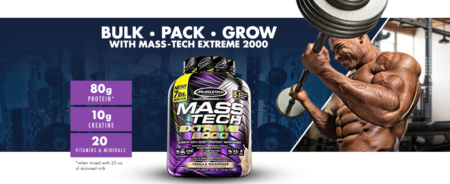 Muscletech MassTech Extreme 2000 | Whey Protein Powder | Build Muscle | Mass Gainer