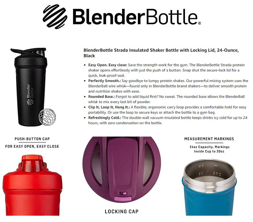 Blender Bottle STRADA Insulated Stainless Steel with Lock Lid keeps COLD Water Protein Shaker, 24 oz