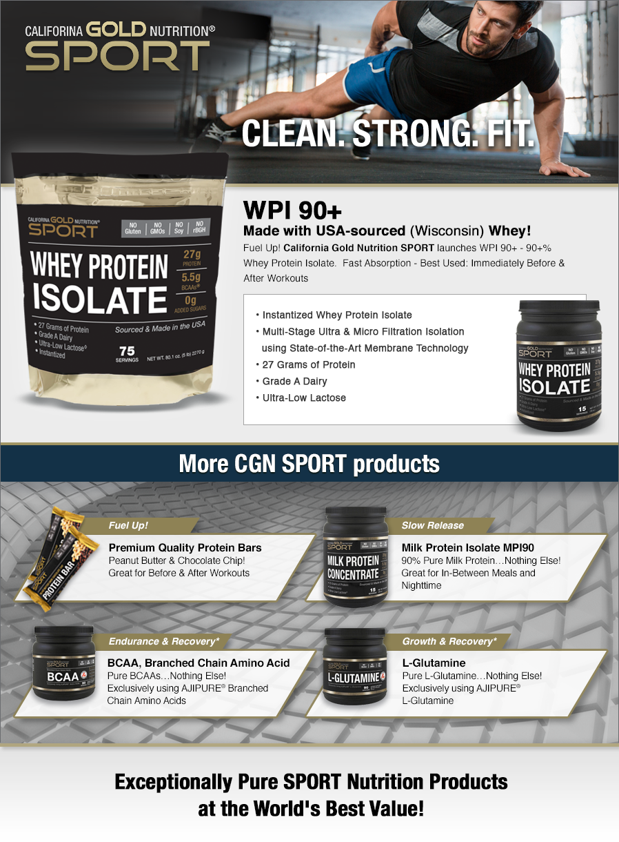 California Gold Nutrition, Whey Protein Isolate, Unflavored, 90% Protein, Fast Absorption, Build Muscle, 5lbs