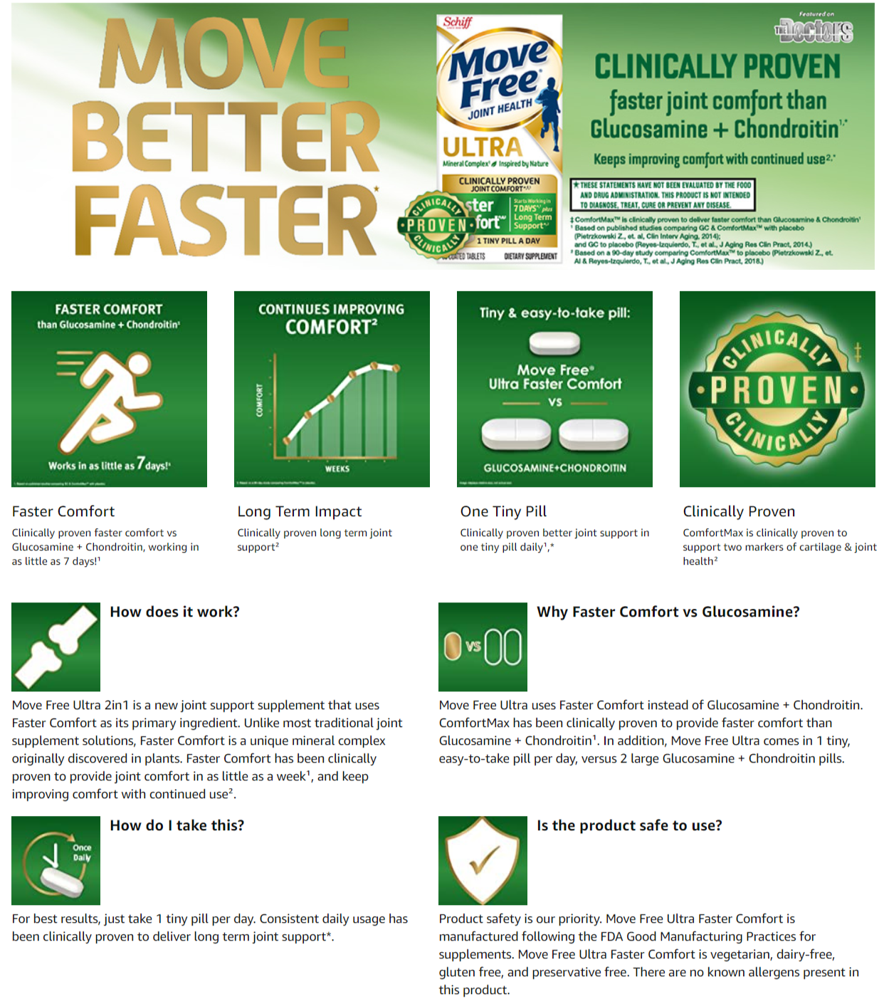 Schiff MOVE FREE Ultra Faster Comfort Joint Health Supplement Tablets Clinically Proven Joint Comfort