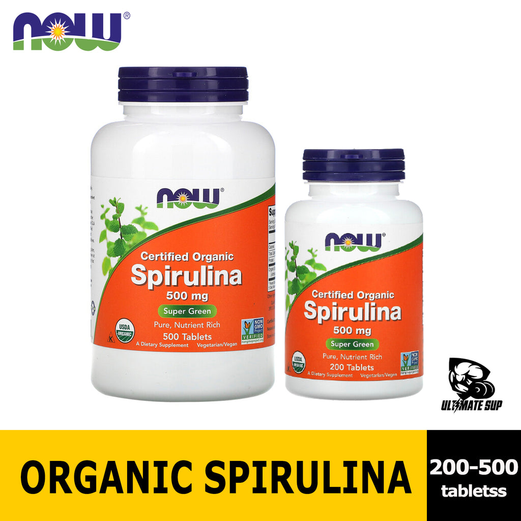 Now Foods, Certified Organic Spirulina 500-1000mg - Ultimate Sup