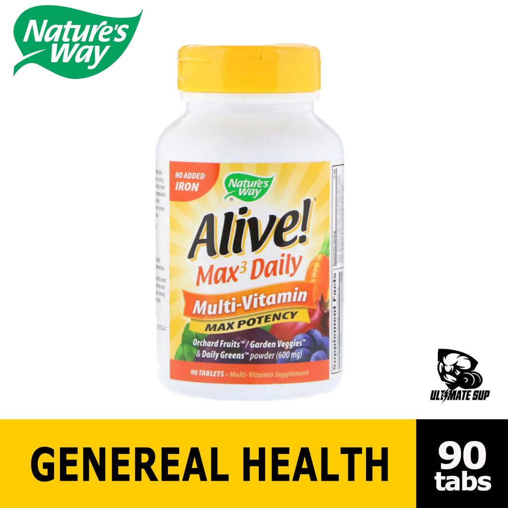 Nature's Way Alive! Max3 Daily Adult Multivitamin, Food-Based Blends and Antioxidants, No Iron Add, 90 Tablets Before