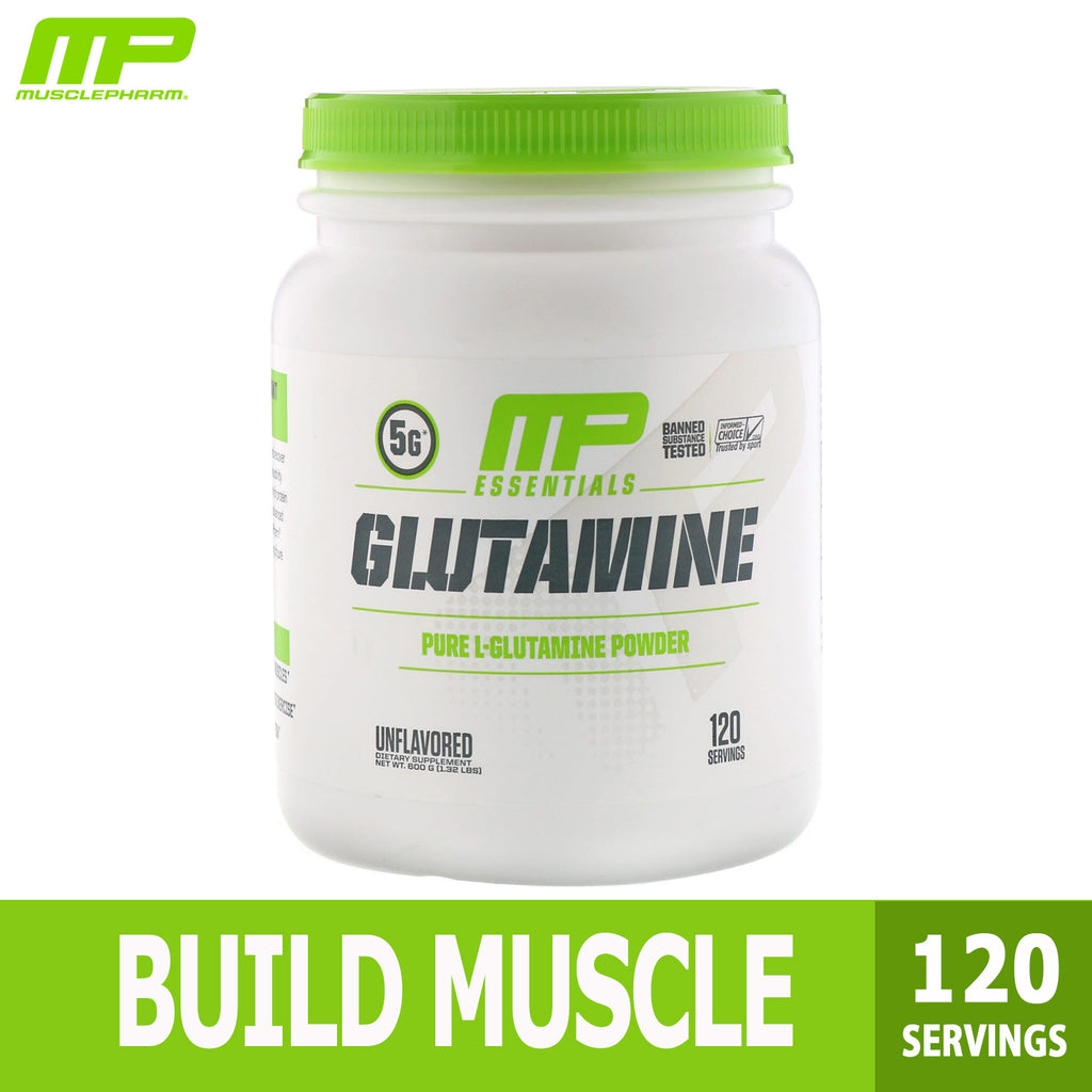 MusclePharm, Glutamine Essentials, Build Muscle Unflavored, 600g (120 servings), Ultimate Sup
