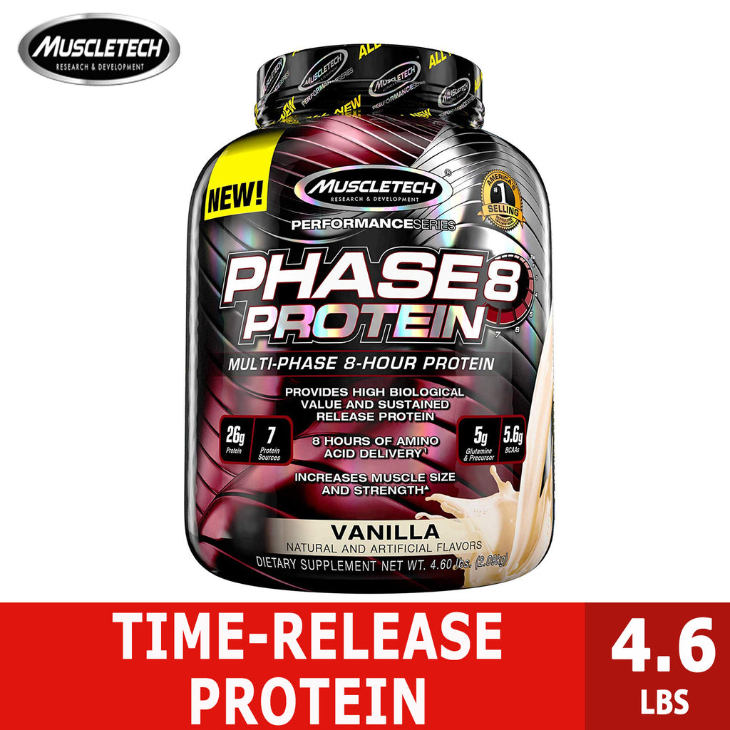 MuscleTech Phase 8 Protein Powder, Sustained Release 8-Hour Protein Shake, 4.6lbs - Ultimate Sup