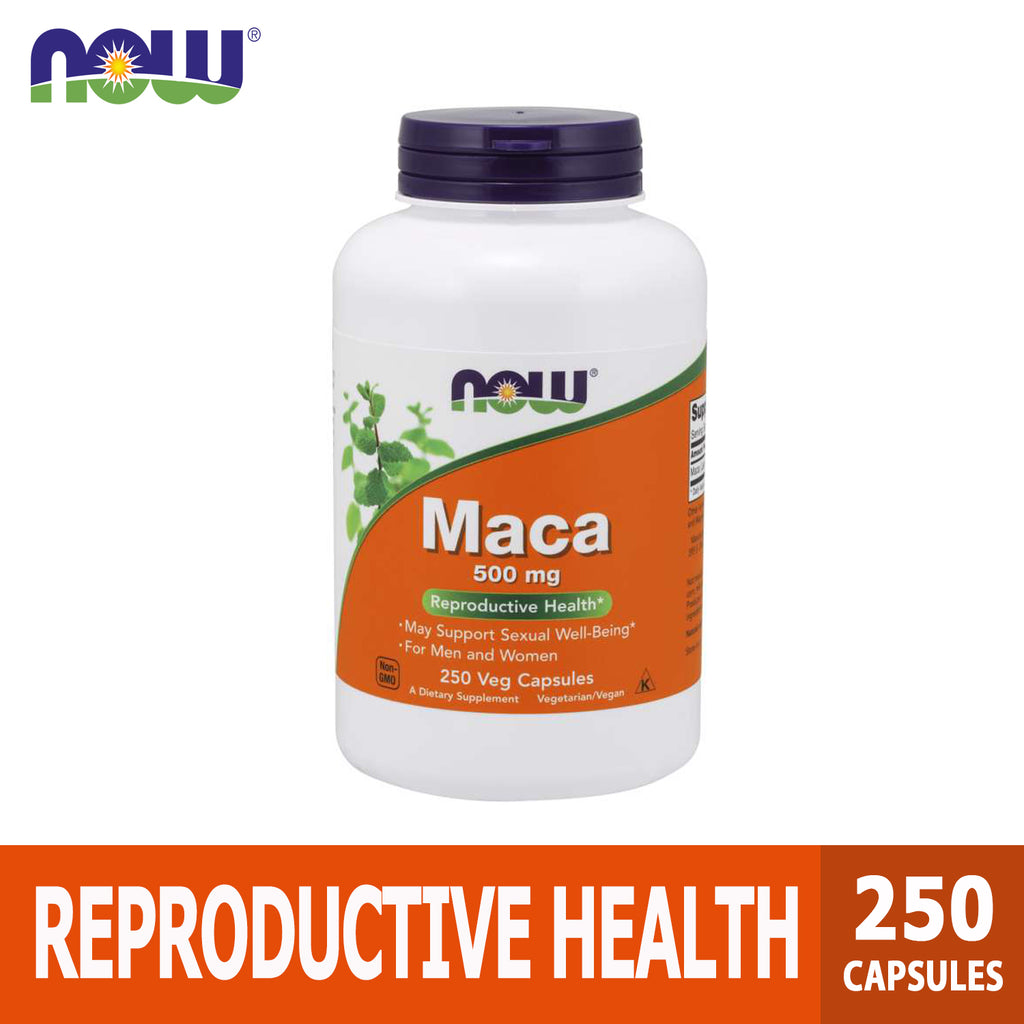 Now Foods, Maca, Reproductive Health, Sexual Well-being Support, 500 mg, 250 Veg Capsules, Ultimate Sup