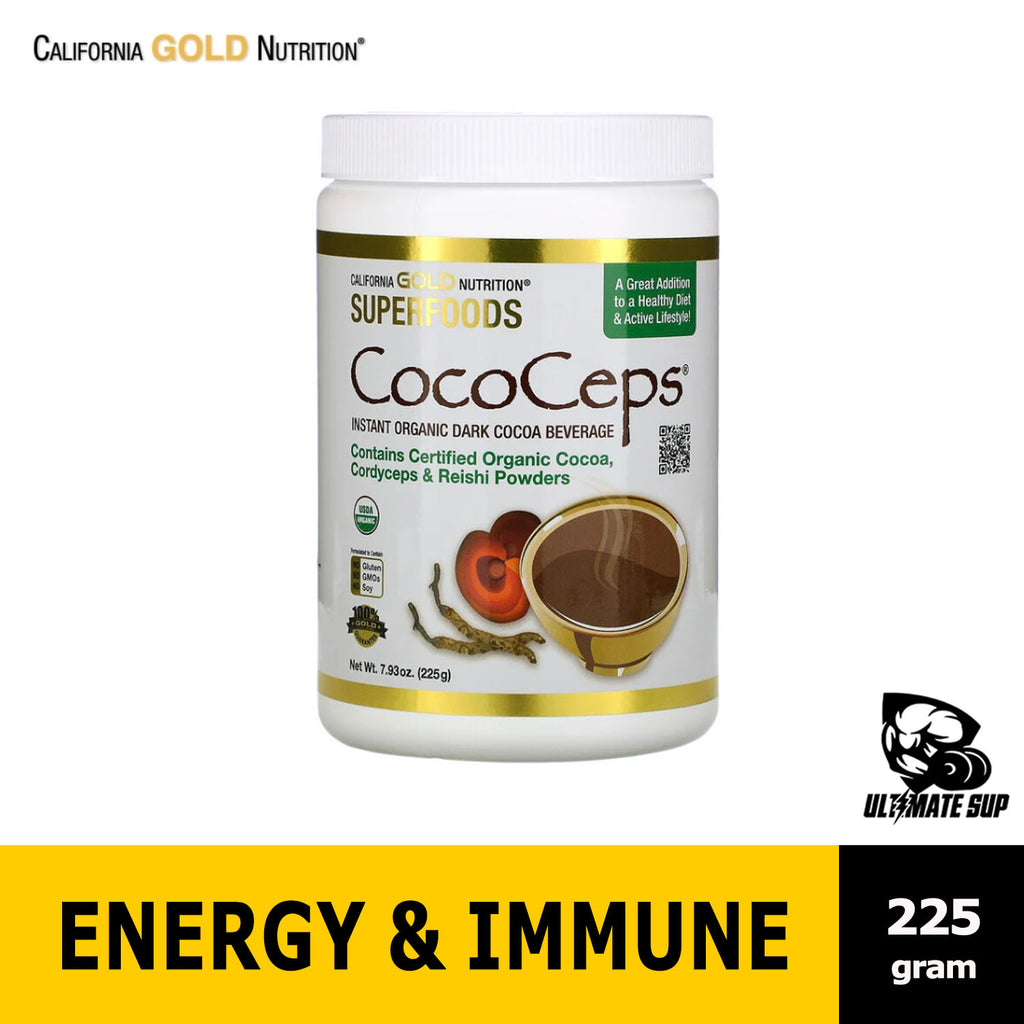 California Gold Nutrition SUPERFOODS - CocoCeps | Organic Cocoa | Cordyceps & Reishi 225g, Before