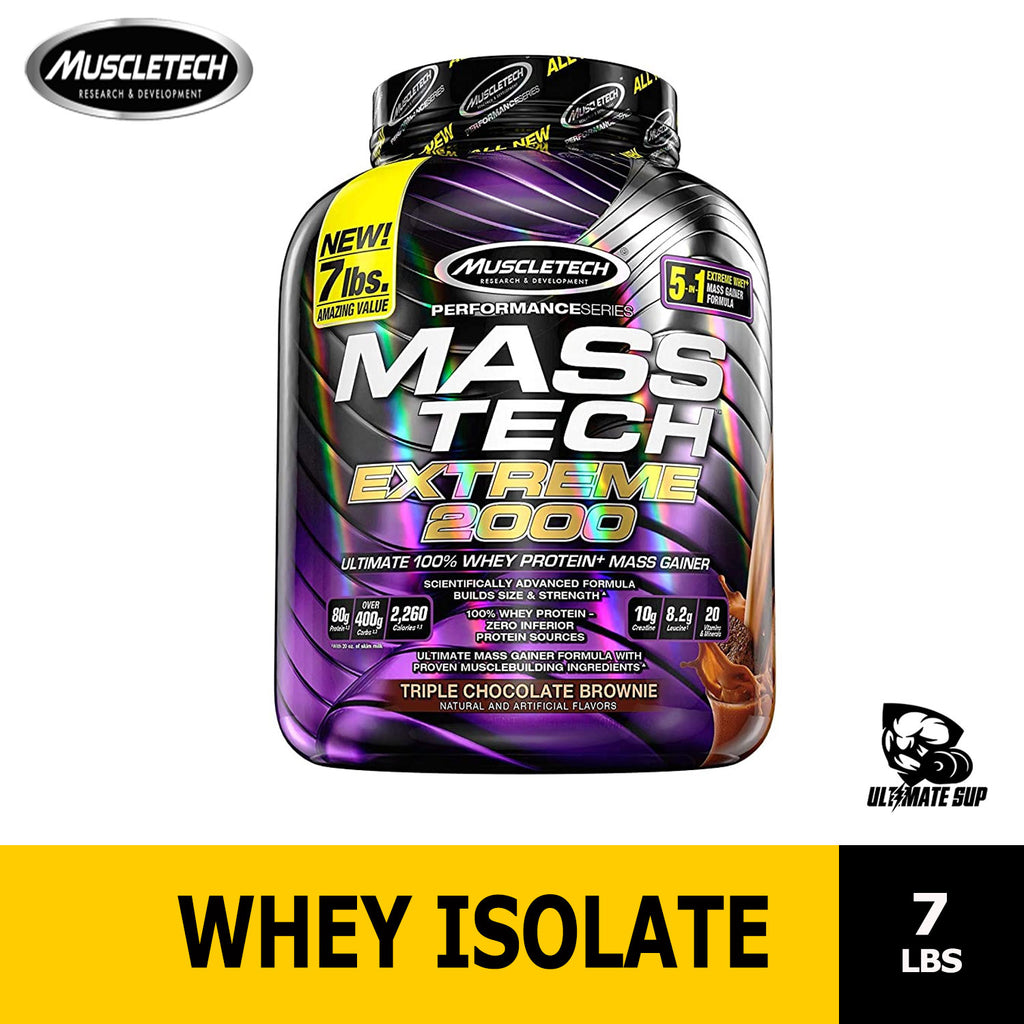 Muscletech, Mass Tech Extreme 2000, Whey Protein Powder, Build Muscle, Masstech 7.00 lb (3.18 kg) Ultimate Sup