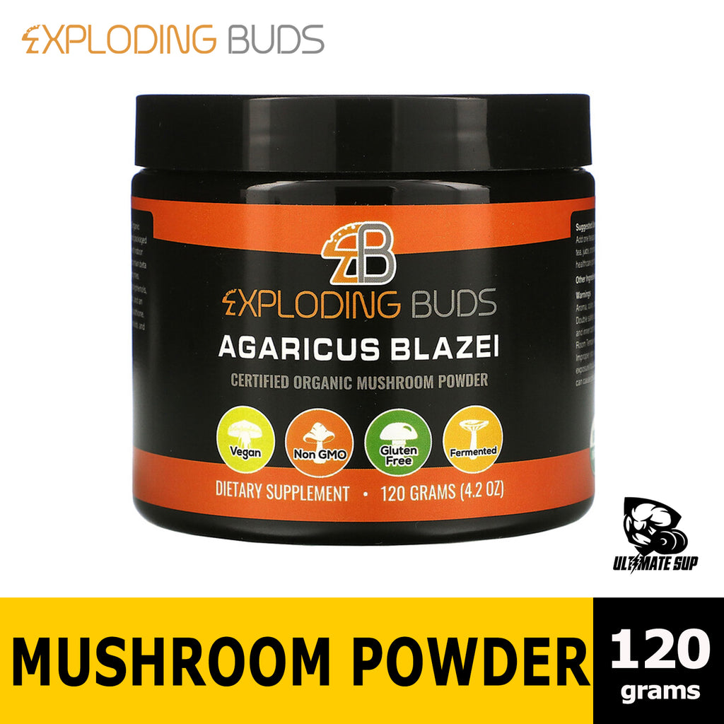 Exploding Buds, Agaricus Blazei, Certified Organic Mushroom Powder, 4.2 oz (120 g) - Ultimate Sup