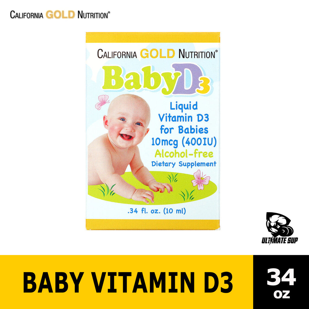 California Gold Nutrition | Baby Vitamin D3 Drops for infants | 400IU 10ml - Ultimate Sup