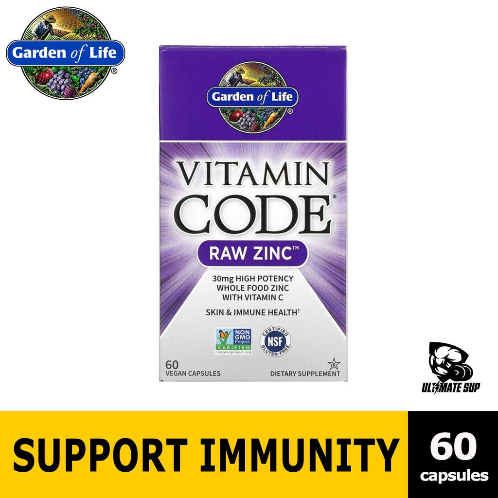 Garden of Life, Vitamin Code, RAW Zinc helps Immune 60 Capsules - Ultimate Sup