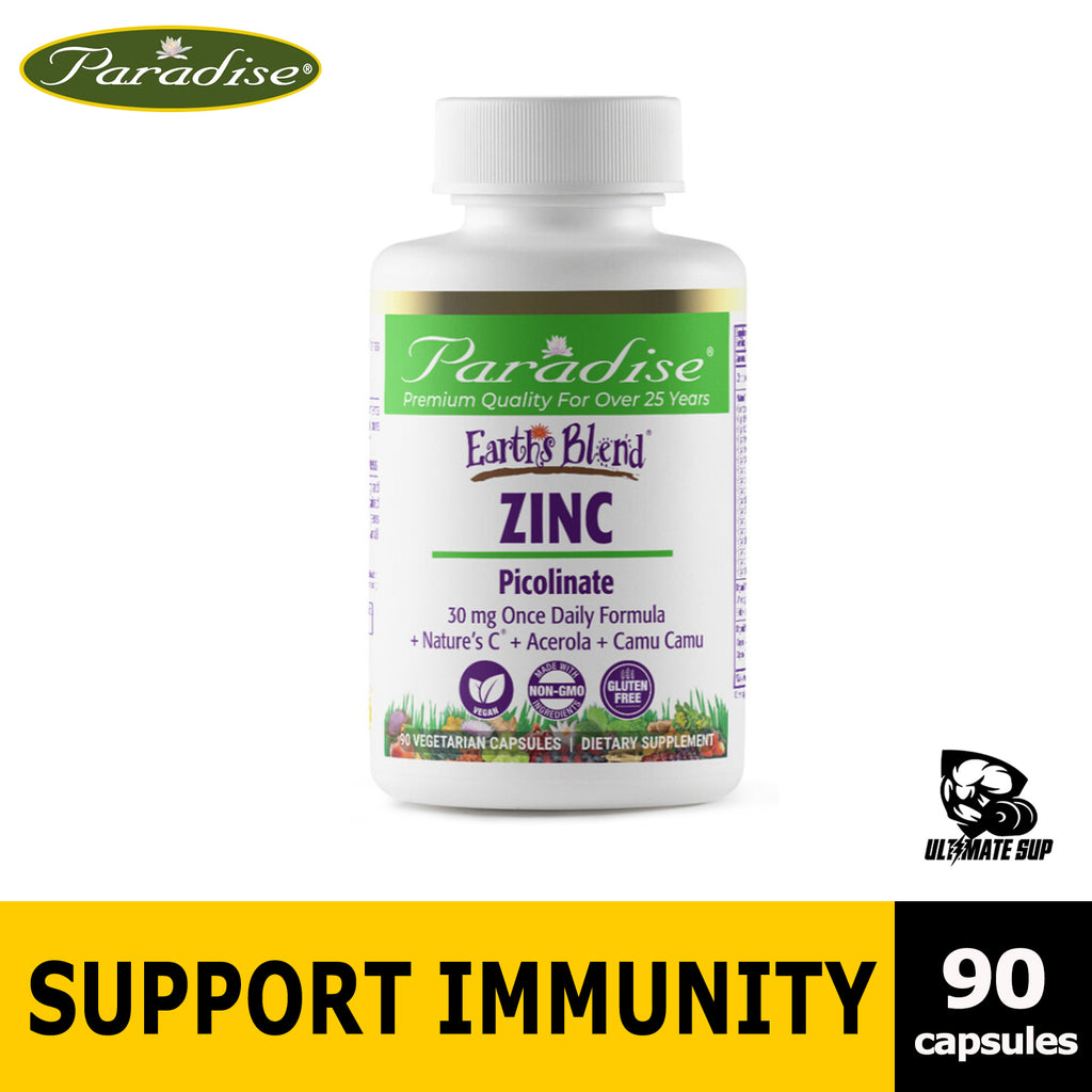 Paradise Herbs, Earth's Blend, Zinc Picolinate & Green helps Immune, 90 Vegetarian Capsules - Ultimate Sup