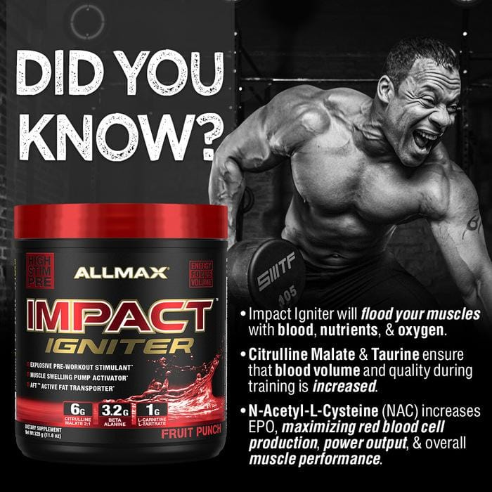 ALLMAX Nutrition, IMPACT Igniter Pre Workout | Mental Focus | Intense Muscle Pump | Ultimate Pre-workout