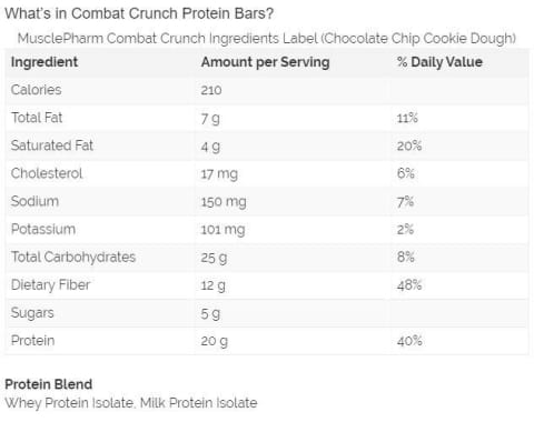 MusclePharm Combat Crunch Protein Bar, Various Flavors, 12 bars, 63g