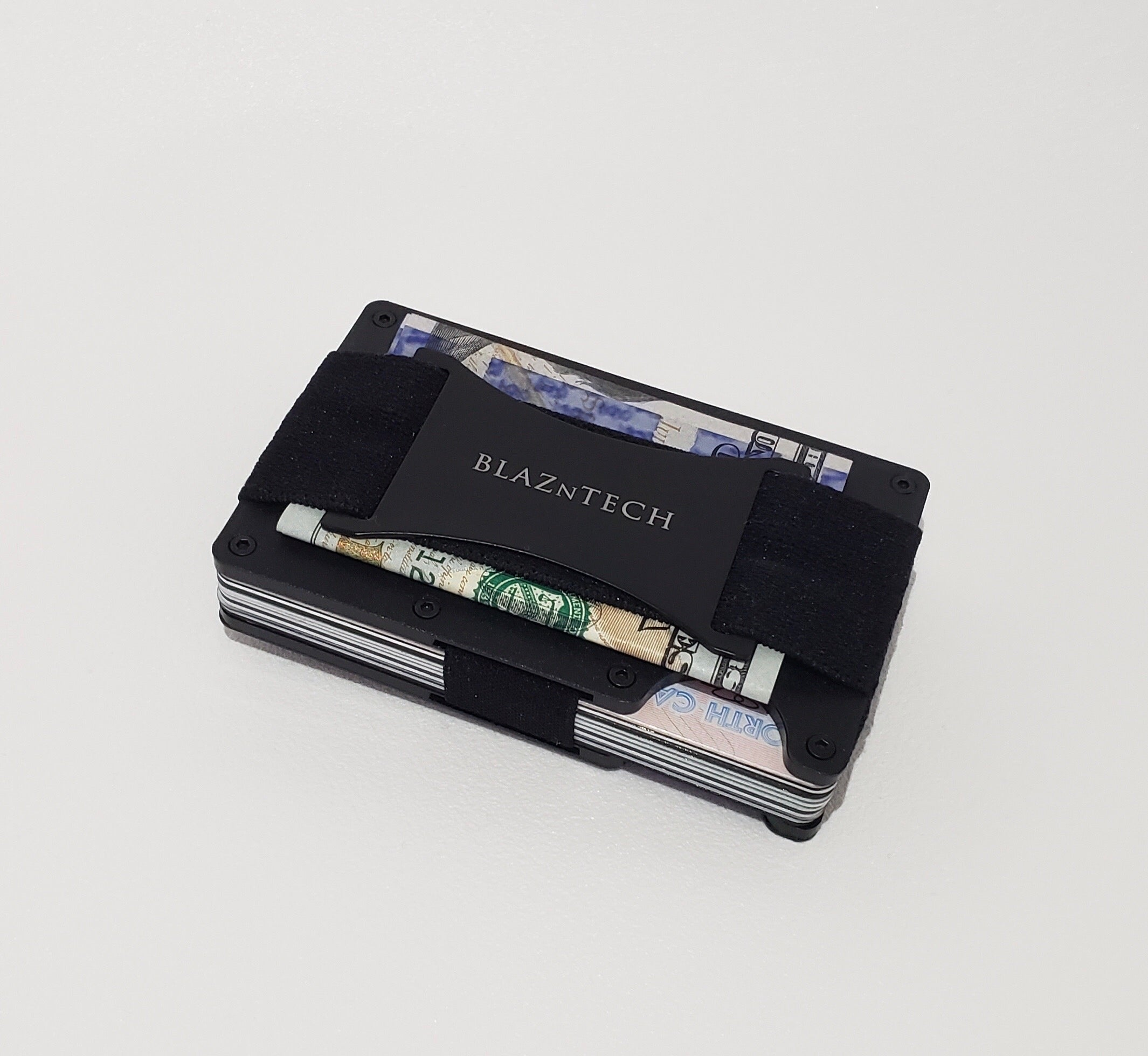 Metal RFID Blocking Wallet with Cash Strap and Multitool Card