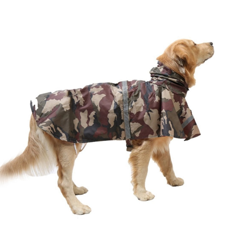 Camouflage Waterproof Reflective Dog Raincoat