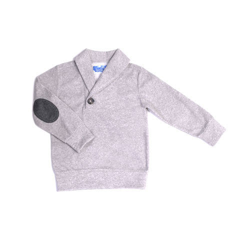 Heather Grey Pullover With Elbow Patches