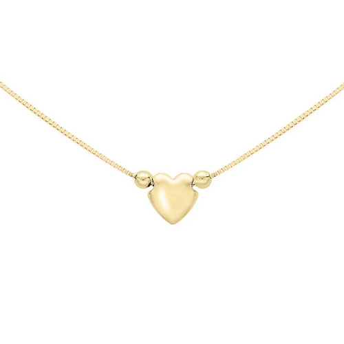 9ct Yellow Gold Cupids Heart Necklace