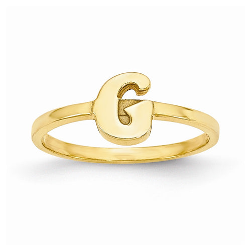14k Gold Polished Initial Ring