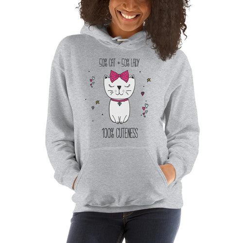 50/50 Cat Lady Hoodie-Gift for Cat Lovers-Sweetcatito