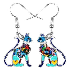Flower Cat Enamel Earrings-Cat earring-Gift for Cat Lovers-Sweetcatito
