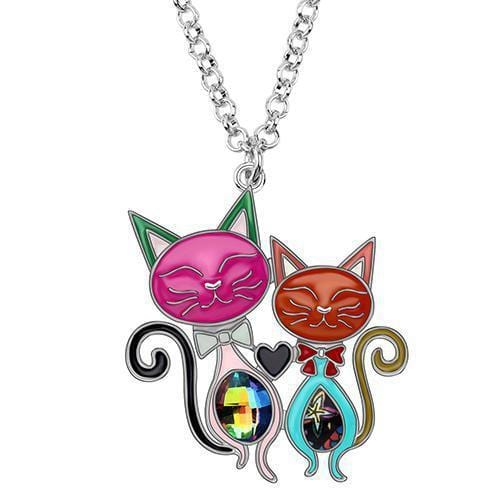 Cat Couple Rhinestone Cat Choker Necklace-Cat necklace-Gift for Cat Lovers-Sweetcatito