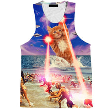 Load image into Gallery viewer, Cloudstyle 3D Tank Top Laser Cat UFO