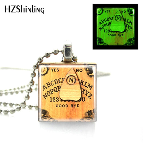 Glow in the dark Ouija Board Necklace Scrabble Tile Pendant with Ball Chain