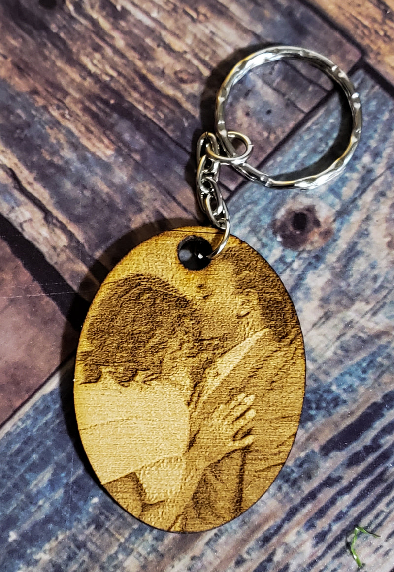 Wood Photo Portrait Keychain  - Personalized Engraved Keychain - Picture Keychain - Gift/Present For Him For Her