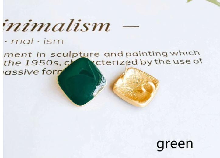 Alloy Square Enamel Studs- (3 options)- Wholesale