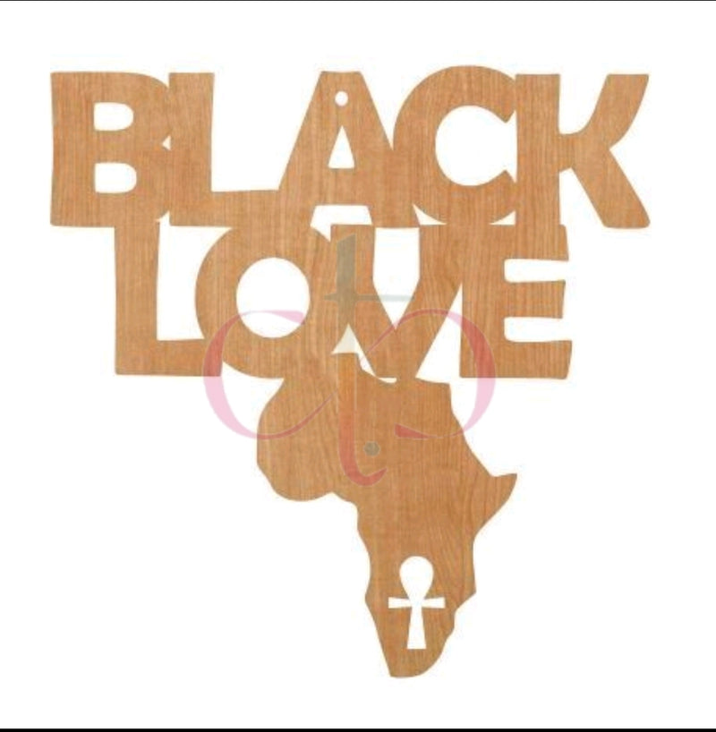 Black Love- Unfinished Wood Earring