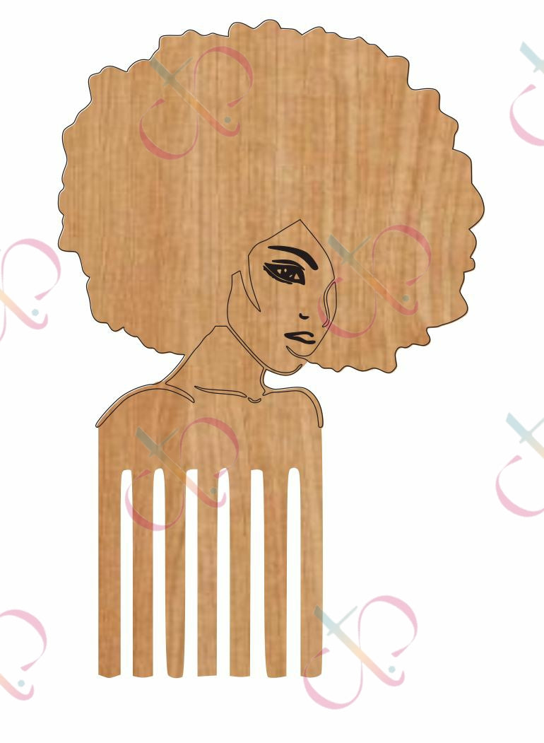 Afropick Woman- Unfinished Wood Earrings (3 Options)