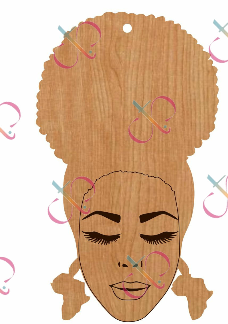 Afro Puff Queen- Unfinished Wood Earrings