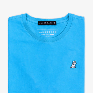 Men's Blue Crew Neck Jersey T-Shirt - White Bark